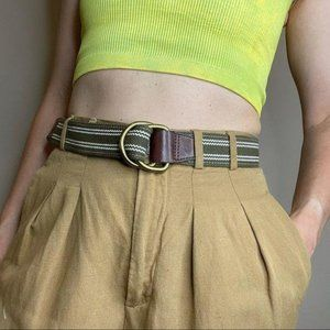 J. Crew cotton canvas slide brass buckle belt S